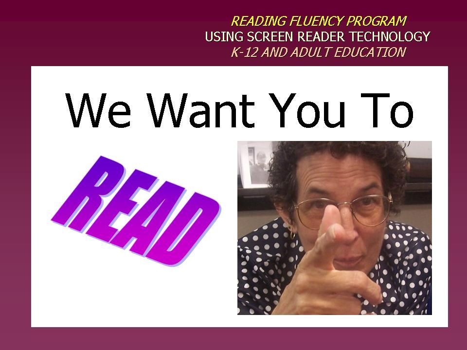Image of poster incouraging reading fluency saying,